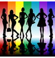 Fashion background with young ladies silhouettes vector image vector image