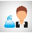 guy cartoon wifi cloud connection vector image vector image