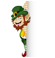 Happy Leprechaun with blank sign vector image