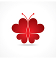 Heart make a butterfly vector image vector image