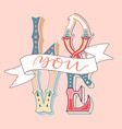 love you postcard phrase for valentines day hand vector image vector image