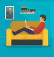 man freelancer at sofa concept background flat vector image