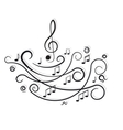 Musical notes Ornament with swirls on white vector image vector image