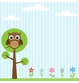 owl on tree background vector image vector image