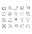 pool equipment charcoal draw line icons set vector image vector image