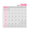practical light-colored planner 2018 may flat vector image vector image