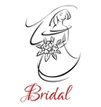 Pretty bride in wedding invitation template vector image vector image