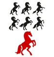 Rearing up and prancing horses silhouettes vector image vector image