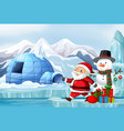 scene with santa and snowman on christmas vector image vector image
