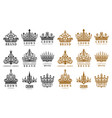 set isolated vintage crowns for company brand vector image