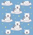 snow bear fishing in ice seamless pattern vector image vector image