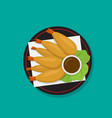tempura shrimp on black dish japanese food vector image vector image