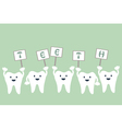 tooth raises word sign that teeth vector image vector image