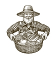 Vegetables Farmer with basket in hands Sketch vector image vector image
