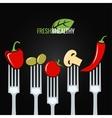 Vegetables on fork food design menu background