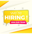 we are hiring background in yellow flat style vector image