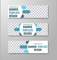 white horizontal banner design with round vector image vector image