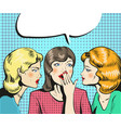 women talking whispering pop art retro comic style vector image vector image
