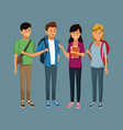 young students cartoon vector image vector image