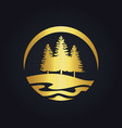 pine tree mountain hill gold logo vector image