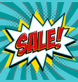sale banner in pop art comic style on a blue vector image