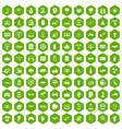 100 hi-tech icons hexagon green vector image vector image