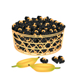 A Brown Basket of Sweet Banana Candies with Cashew vector image vector image