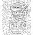 adult coloring bookpage a cute pig wearing a hat vector image vector image