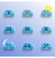 Blue Clouds with Weather Signs vector image vector image