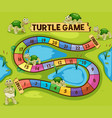 boardgame template with turtles in the pond vector image vector image