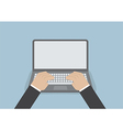 Businessman hand on laptop keyboard with blank scr vector image