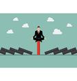 Businessman meditating on unique red domino tile vector image