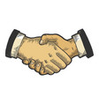 businessmen handshake color sketch engraving vector image vector image