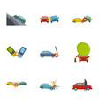 car accident icons set cartoon style vector image