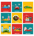 Car flat design icon set vector image vector image