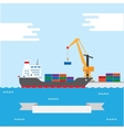Cargo transportation ship vector image