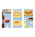 cartoon italy food cards cuisine delicious vector image