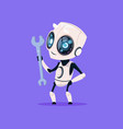 cute robot hold wrench isolated icon on blue vector image vector image