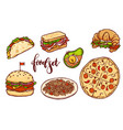 different countries fast food set vector image vector image