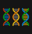 dna or chromosome icons set on dark background vector image vector image