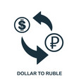 dollar to ruble icon mobile app printing web vector image vector image