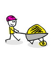 drawing of stick figure with cart vector image vector image