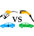 electric car and fuel fight vector image vector image
