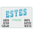 Estes modern western font with grunge texture on vector image vector image