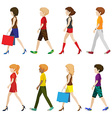 Fashionable people walking without faces vector image vector image