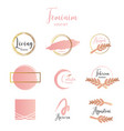 feminine and minimalist logo template collection vector image vector image