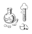 Flask tube pills capsules and powder vector image
