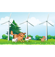 Four dogs playing in front of the windmills vector image vector image