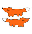 funny fox sign cartoon icon in curve lines vector image
