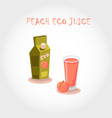 glass of bio fresh peach juice vector image vector image